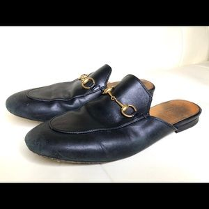 Gucci Black Leather Princetown Mules